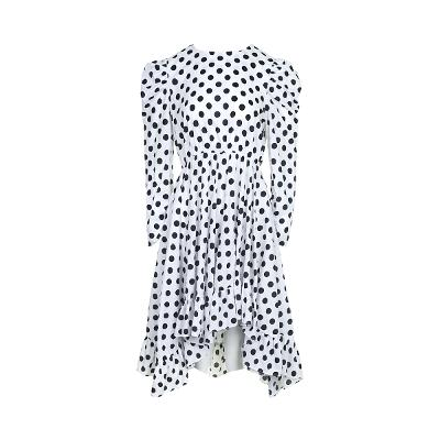 dot pattern leg-of-mutton sleeve dress